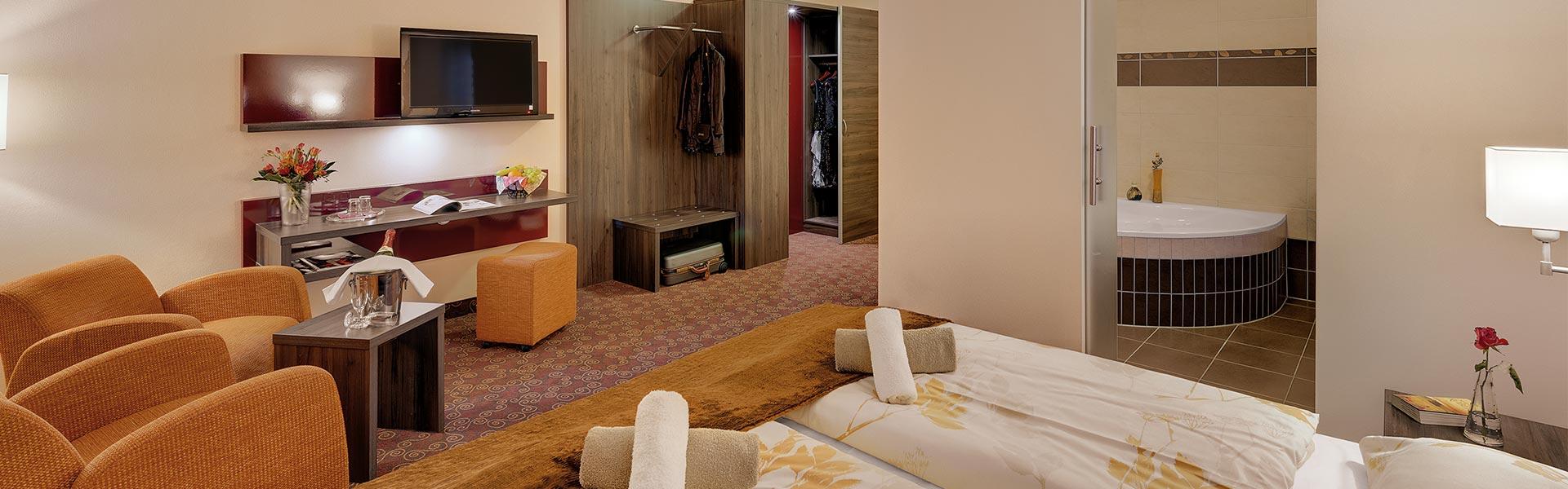 Blick in Premiumzimmer Schlossberghotel Oberhof | Urlaub für Paare